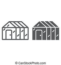 Greenhouse line and glyph icon, garden and farm, glasshouse ...