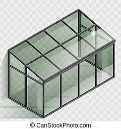 Greenhouse or winter garden. Covered veranda for plants....