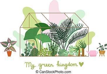 Greenhouse. Planting plant, pavilion decorative garden. ...