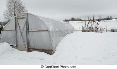 greenhouse snow garden - panorama of homemade wooden diy...