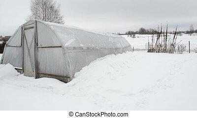 greenhouse snow garden - panorama of wooden diy homemade...