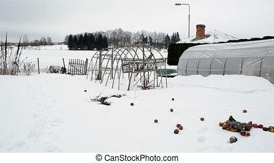 greenhouse snow garden - wooden diy homemade polythene...