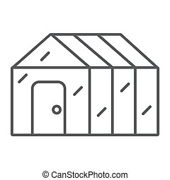 Greenhouse thin line icon, garden and farm, glasshouse sign...