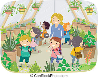 Greenhouse Tour - Illustration of Kids Touring a Greenhouse