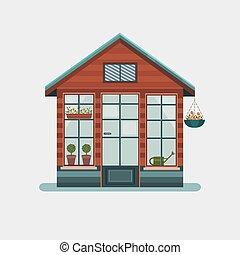 greenhouse., vector, illustratie