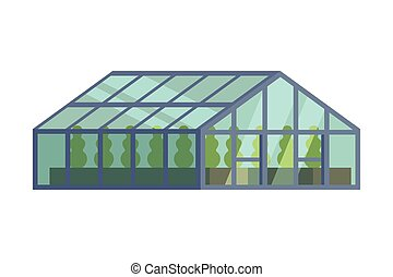 Greenhouse with Glass Walls, Agricultural Building Cartoon ...