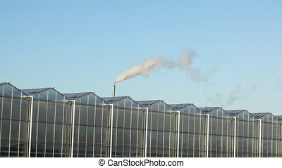Greenhouse with greenhouse gas - Footage of a greenhouse...