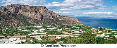 Lakkos, Peloponnese, Greece - greenhouses and cultivated ...