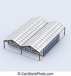greenhouses top - 3d rendering illustration, greenhouses ...