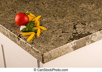 Greenish granite kitchen counter