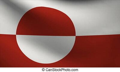 greenland flag waving gently in wind