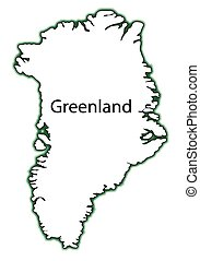 Greenland - Outline map of Greenland over a white background