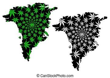 Greenland island - map is designed cannabis leaf