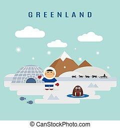 Greenland landscape flat vector: eskimo man and walrus