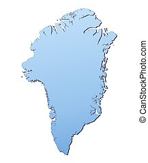 Greenland map filled with light blue gradient. High...