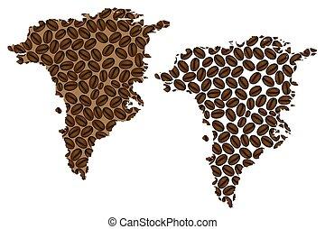 Greenland map - Greenland - map of coffee bean, Greenland...