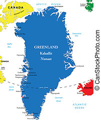 Greenland map - Highly detailed vector map of Greenland with...