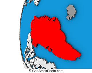 Greenland on 3D globe