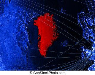 Greenland on blue blue digital map
