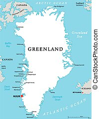 Greenland Political Map with capital Nuuk and important...