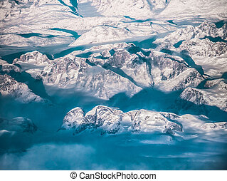 Greenland Snow Mountains, aerial shot.