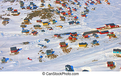 greenland village - Colorful houses in the Kulusuk village,...