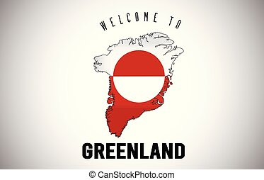 Greenland Welcome to Text and Country flag inside Country border Map Vector Design.