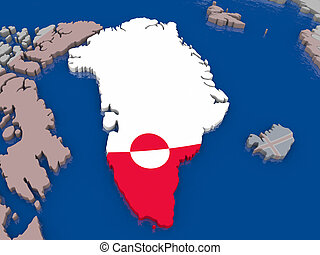 Greenland with flag