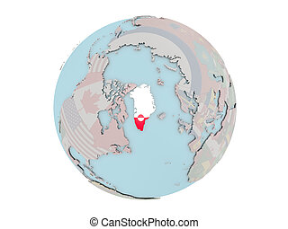 Greenland with flag on globe