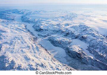 greenlandic, gorra, nuuk, hielo, congelado, fiordo, vista, montañas, groenlandia, aéreo