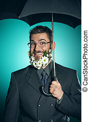 greenpeace - Extravagant businessman with a beard of flowers...