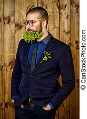 greenpeace - Handsome mature man with a beard of green...