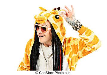 greenpeace - Rock musician in a costume of giraffe dancing...