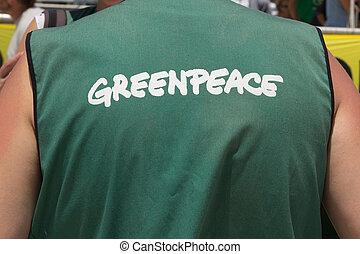 GreenPeace - VALENCIA, SPAIN - JUNE 10, 2014: A crew member...