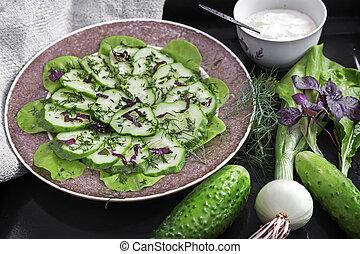 greens., concombres, salade, frais