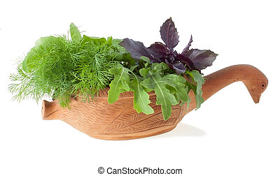 Greens for Salad in The Wooden Carved Mortar
