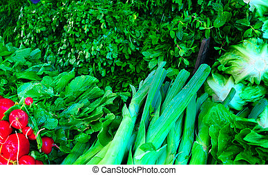Greens - Many Of Fresh Green Vegetables On Market Stand
