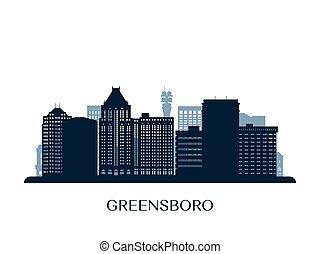 Greensboro, North Carolina skyline, monochrome silhouette. Vector illustration.