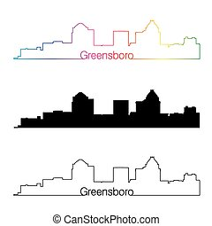 Greensboro skyline linear style with rainbow in editable...