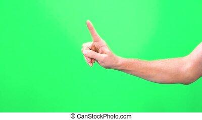 greenscreen, изготовление, мужской, рука, зеленый, chromakey, isolated, знак, background., нет, посмотреть, один, один, жест, крупным планом, задний план, экран