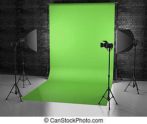greenscreen, スタジオ, ∥で∥, lightbox, そして, softbox., フィルム スタジオ,...