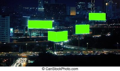 Greenscreen Billboards Night City - Sprawling cityscape with...