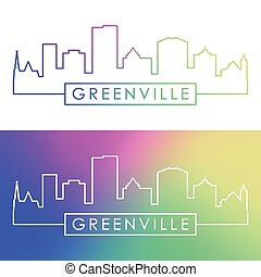 Greenville skyline. Colorful linear style.