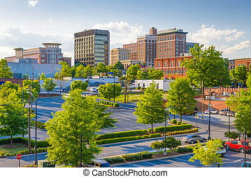 Greenville, South Carolina, USA downtown buildings