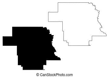Greer County, Oklahoma State (U.S. county, United States of America, USA, U.S., US) map vector illustration, scribble sketch Greer map