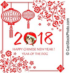 Greeting applique for 2018 Chinese New Year with funny puppy shitsu in santa hat, decorative floral pattern and hanging chinese lantern