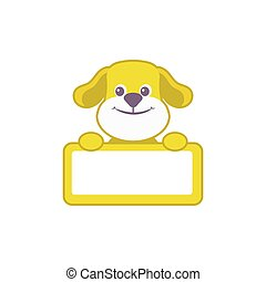 greeting baby card with cute dog, frame