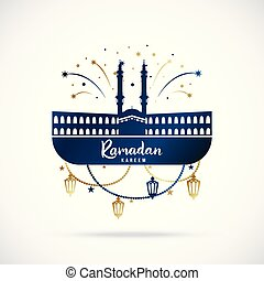 Greeting banner for islamic holy holiday Ramadan Kareem.