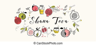 greeting banner with symbols of Jewish holiday Rosh Hashana , New Year. blessing of Happy new year, shana tova. vector illustration template d