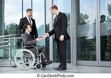 Greeting before business meeting - Horizontal view of ...